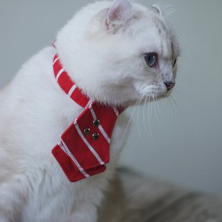Cat collar red striped tie