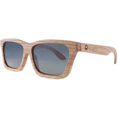 Plantwear European Handmade Solid Wood Sunglasses - Classic Collection - White Oak Solid Wood Frame + Space Gray Lens