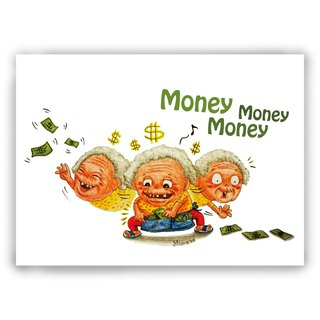 Hand-painted illustrations of universal cards / cards / postcards / illustrations card - money everyone happy mother money