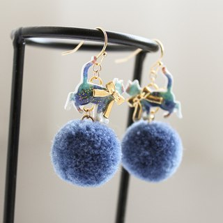 Cat hair ball earrings under the stars can be changed ear clips and earrings kitten starry pompoms handmade