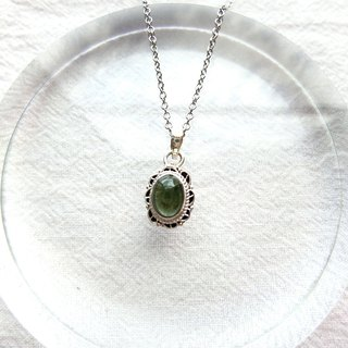Green Tourmaline 925 Sterling Silver Lace Necklace Nepalese Handmade Silverware