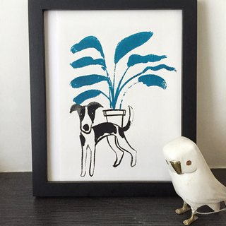 Whitby hound and plant dog hand-printed prints