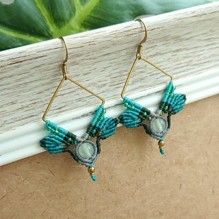 Misssheep-A117-Bohemian ethnic style South American wax line woven brass green jade earrings