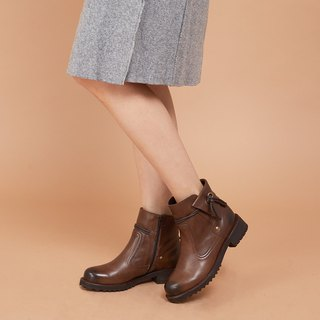 [small lapel flight] rub color first layer cowhide side zipper slimming boots _ intense coffee brown