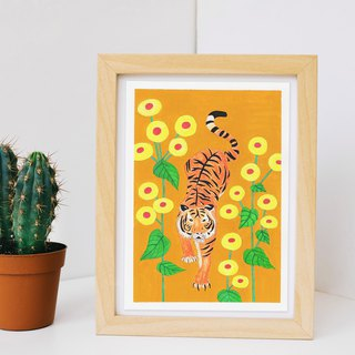 Original Painting // Tiger and Flowers // Start
