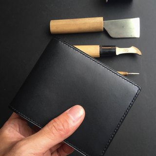 Short clip card - European leather