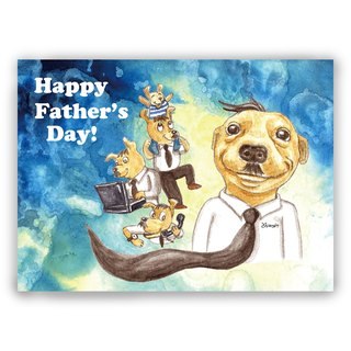 [Father's Day] hand-painted illustration Father's Card / Universal Card / Card / Postcard / Illustration Card - Dog Daddy Smile Sweet Born Busy Work With Children