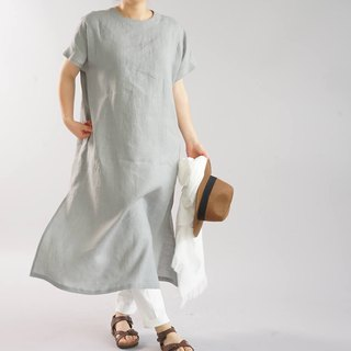 wafu   linen dress / loose fitting / long length / short sleeve / gray / a41-59