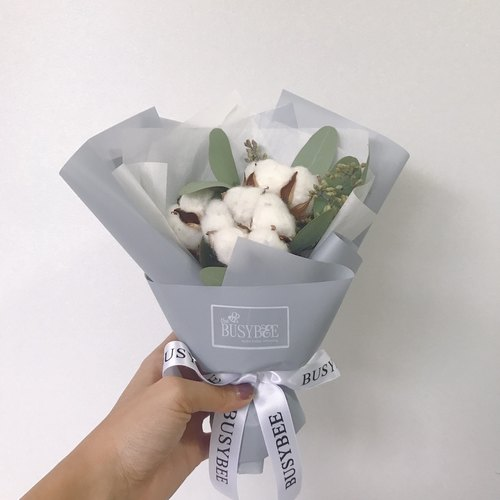 {BUSYBEE} White Miss Cotton Dry Bouquet Christmas Gifts Exchange Gifts Birthday Gifts