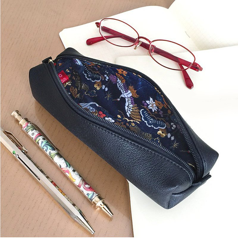 Leather pen case with Japanese Traditional pattern, Kimono - Gold Brocade