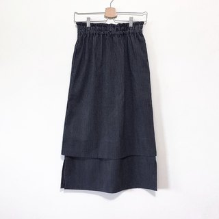 Hand made black gray line skirt