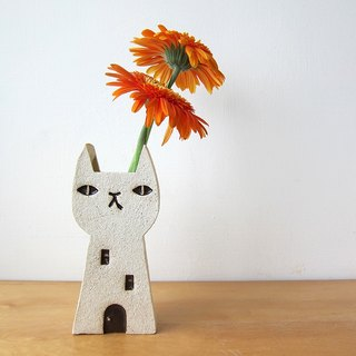 Cat House Vase -black eyed