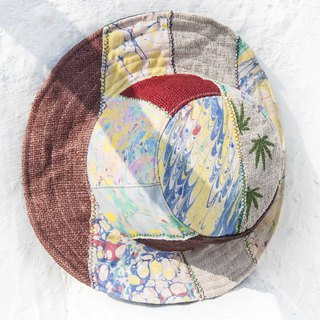 Moroccan wind stitching hand-woven cotton hat woven hat fisherman hat visor straw hat - fresh ocean hat