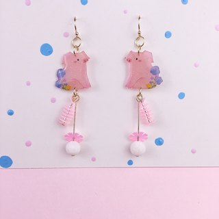Pastoral, pink, pet, pig, pig, flowers, Earrings *