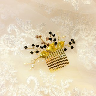 Put on the happiness of rice series - the bride comb. French comb. Wedding buffet - low profile black gold wings