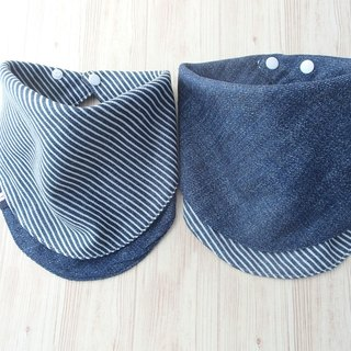 Baby Bib, Reversible Handkerchief Bib, Navy Stripe, Bandana Bib, Japanese Cotton