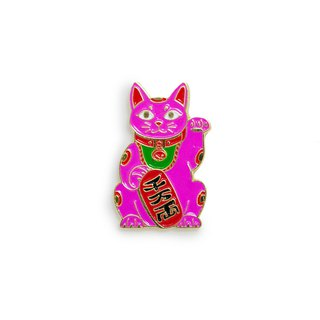 Maneki Cat Pink Pin
