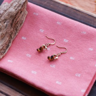 Tiger eye stone mini hook jade brass earrings [mesh]