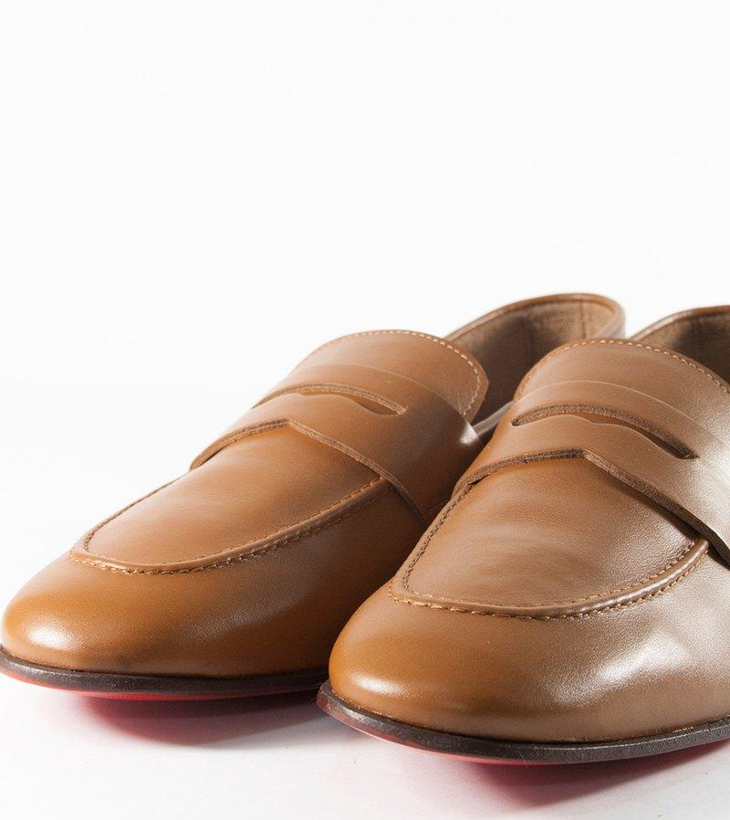 義大利真皮棕色紳士樂福鞋