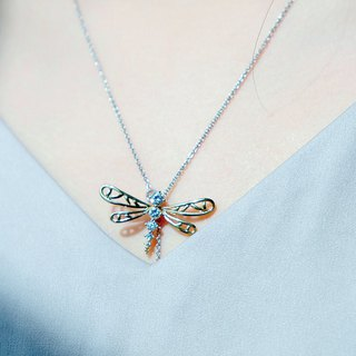 Monde des Insects series small 蜻蜓 simple silver plated 18K gold necklace
