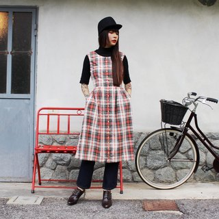 F3014 [Vintage dress] white checkered red-breasted double pocket cotton sleeveless vintage dress (Kyoto Japan)