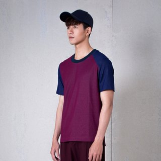 CAVEMAN T-SHIRT - MAROON COLOR BLOCK SHORT SLEEVE JERSEY
