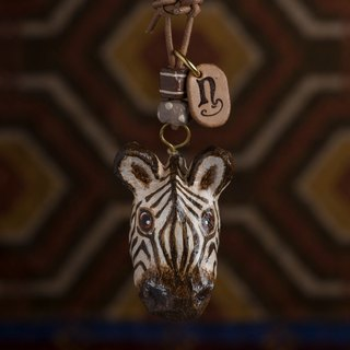 zebra paper mache necklace