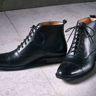 Lin Guoliang Balmoral Leather Boots Classic Black