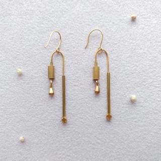 e006-yoU series no.1- brass needle/clip earrings