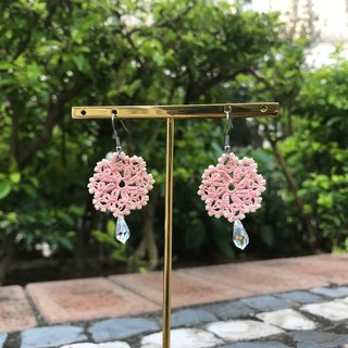 tatted lace crystal earrings(orange pink) / gift / Swarovski / earring clip