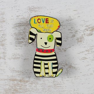 Shaped wood clip magnet - Love Is All You Need
