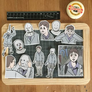 Crying boy sticker set