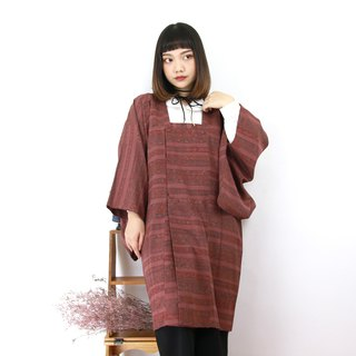 Back to Green - Japanese style kimono with a full purple stripe pattern