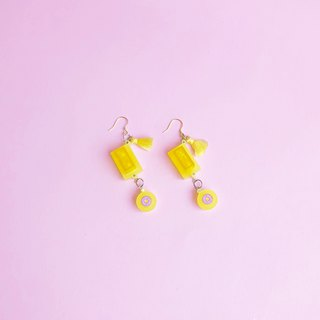 Cute Doughnut yellow building blocks  geometry earrings