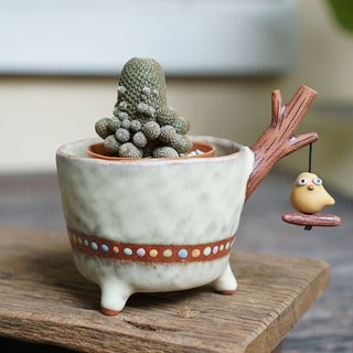 Branch plant pot for cactus ,little bird , handmade ceramic , pottery