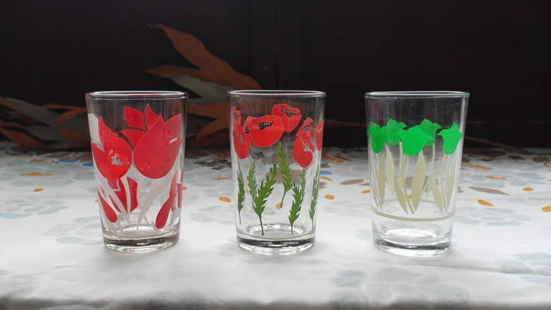 Early Water Cup - Red Poppy and Tulip (Tableware / Old / Old / Glass / Flower / Juice Cup)