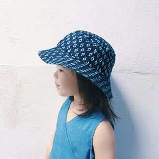 Handmade reversible cotton fishermen sun baby kids hat indigo