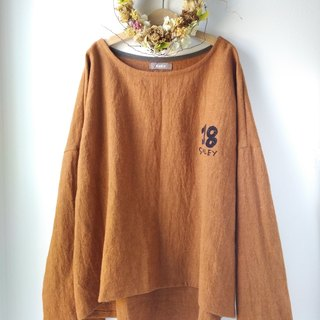 drop shoulder pull over / Japanese ramie linen × wool (terracotta)