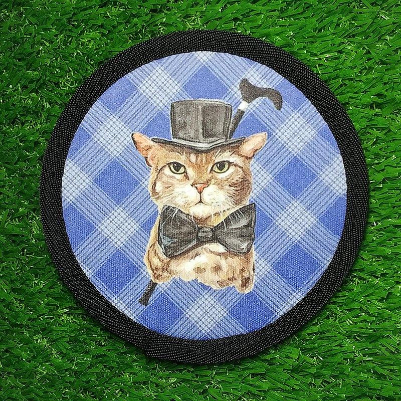 三貓小舖-潛水布超吸水杯墊-紳士貓