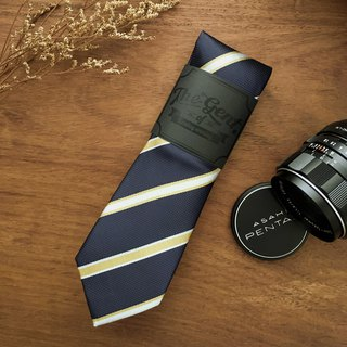 The GENT Navy-Yellow Butter Stripe Neck Tie