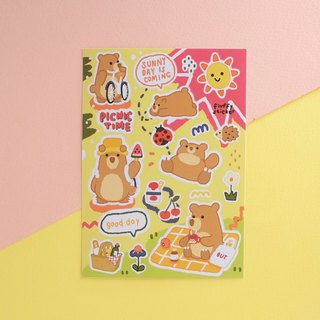 Fluffy bear sticker