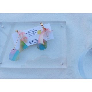 Aurora morning series hand-painted irregular hand dyed ribbon earrings ear pin ear clip models