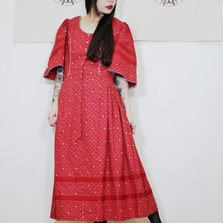 F2001 Austrian Traditional Costume Vintage Red Checked Cotton Small Floral Vintage Dress (Wedding / Picnic / Party)