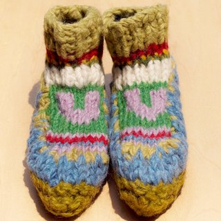 A limited number of knitted pure wool wool socks / children's wool socks / children's wool socks / within the brush wool socks / knitted wool socks / children's indoor socks - Nordic Fell Island Totem