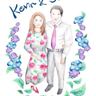 wedding watercolor portrait