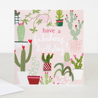 【caroline gardner】Cactus Pin Badge Have a Fab Birthday Card BOH004