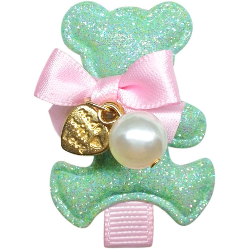 Macarons bow tie bear hair clip all-inclusive cloth handmade hair accessories Macaron Teddy-Mint