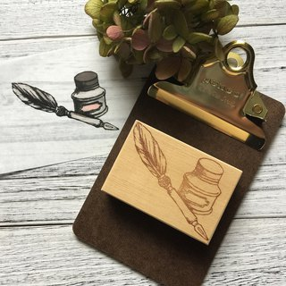 Hand- drawn stamp Love quill