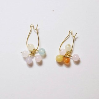 Sweet [X] handmade natural stone earrings person (Tianhe stone, stone color Morgan, powder)