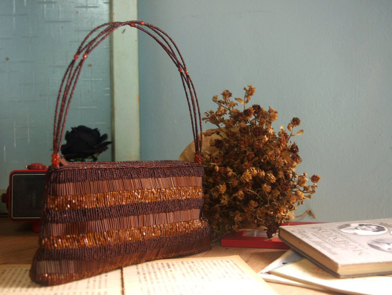 Japan Showa Treasure Hunt Antique Bag - Dead Tree Dark Brown Gradient Beaded Clutch